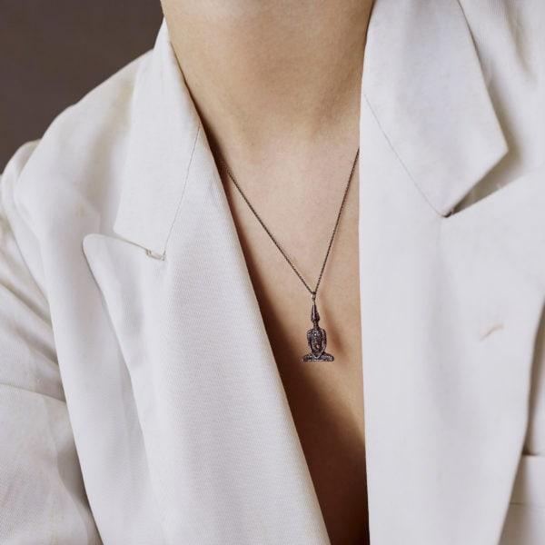 Black Diamond Meditator Necklace