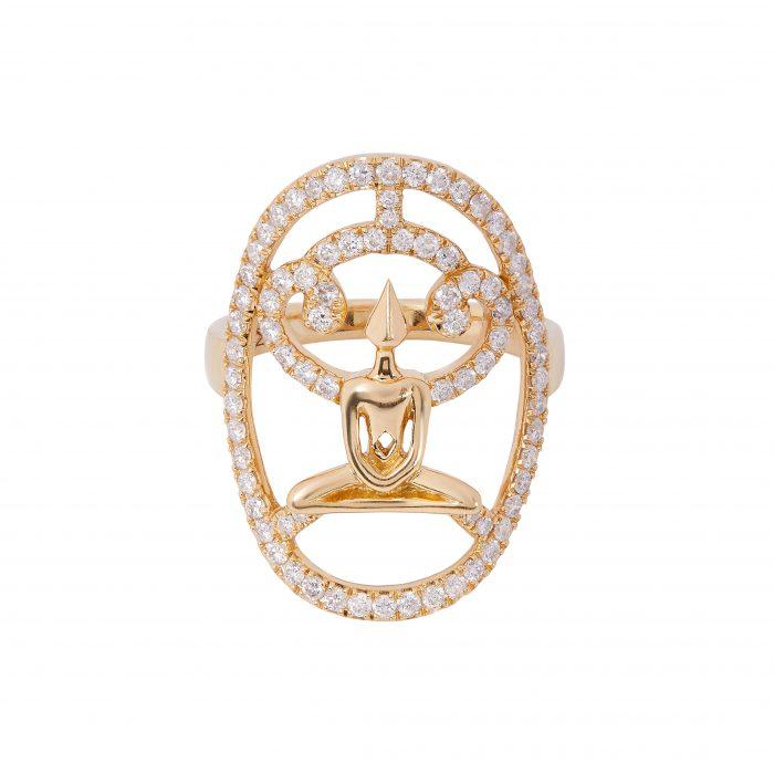 Gold Diamond Meditator Ring
