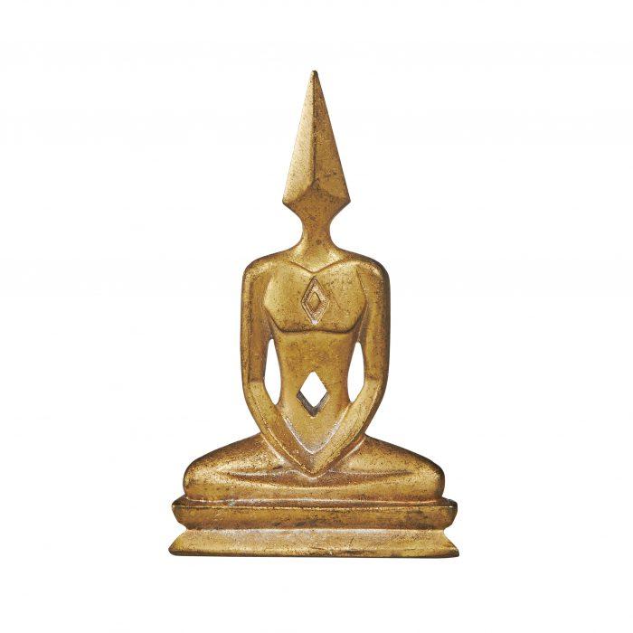Mini Bronze Meditator Statue, Gold Finish