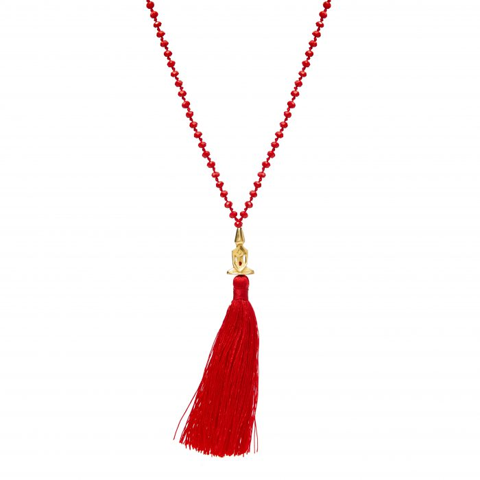 Red Beaded Silver Plated Meditator Necklace