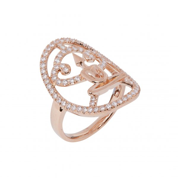 Rose Gold Zirconia Meditator Ring