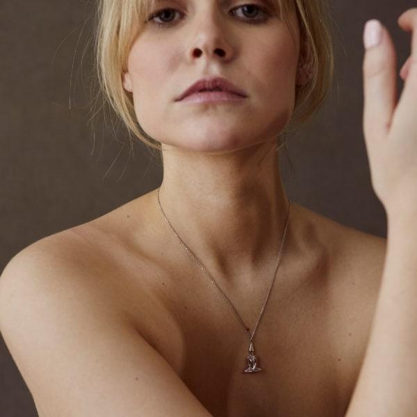 Silver Female Meditator Necklace