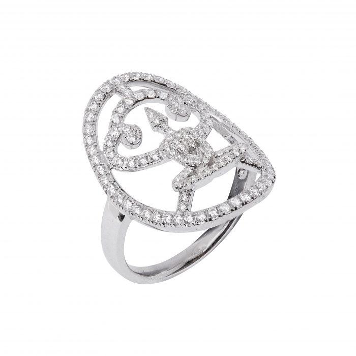 Silver Full Body Zirconia Meditator Ring