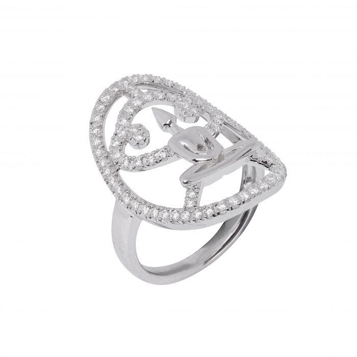 Silver Zirconia Meditator Ring