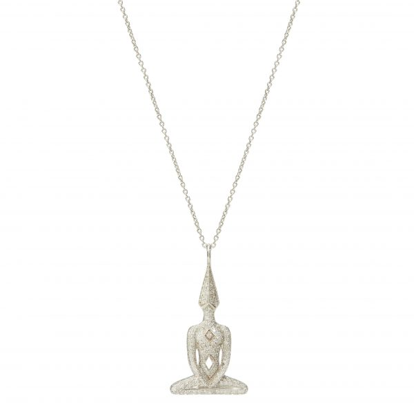 White Gold Diamond Meditator Necklace