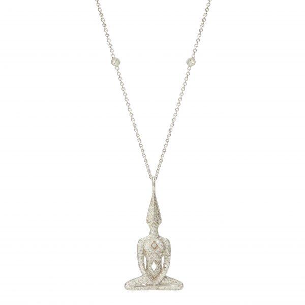 White Gold Diamond Meditator Necklace, Diamond Chain