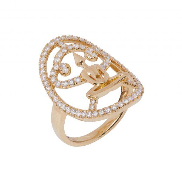 Gold Zirconia Meditator Ring